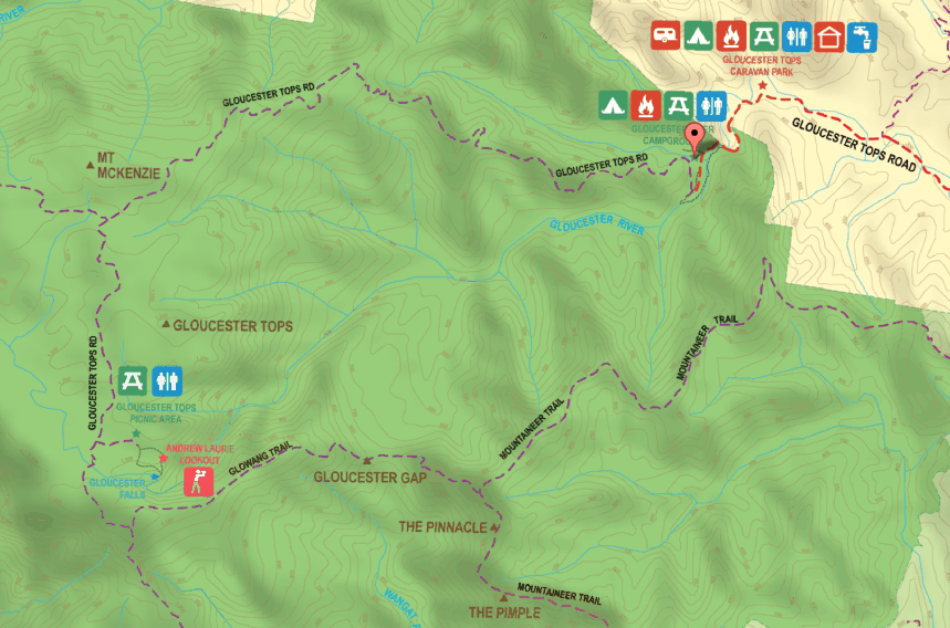 Mud Map Barrington Tops Map: showing Gloucester Campground, Gloucester Falls and Gloucester Tops Picnic Area. Click image to view full map.