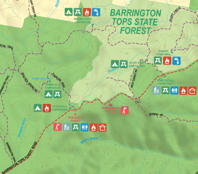 Mud Map Barrington Tops Map. Showing Manning River Campground, Devil's Hole Campground and Gummi Falls Campground. Click image to view full map.