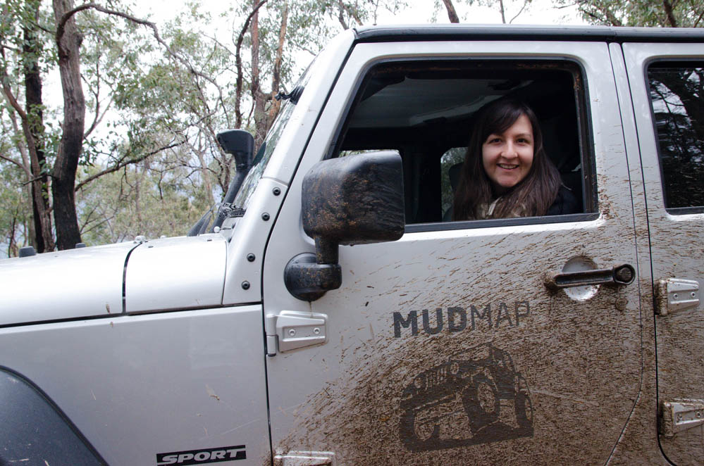 Maria from MUDMAP getting muddy on the tracks around Woods Point