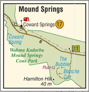 Westprint Map showing Wobma Kadarbu Mound Springs Conservation Park. Map available on Mud Map apps and devices.