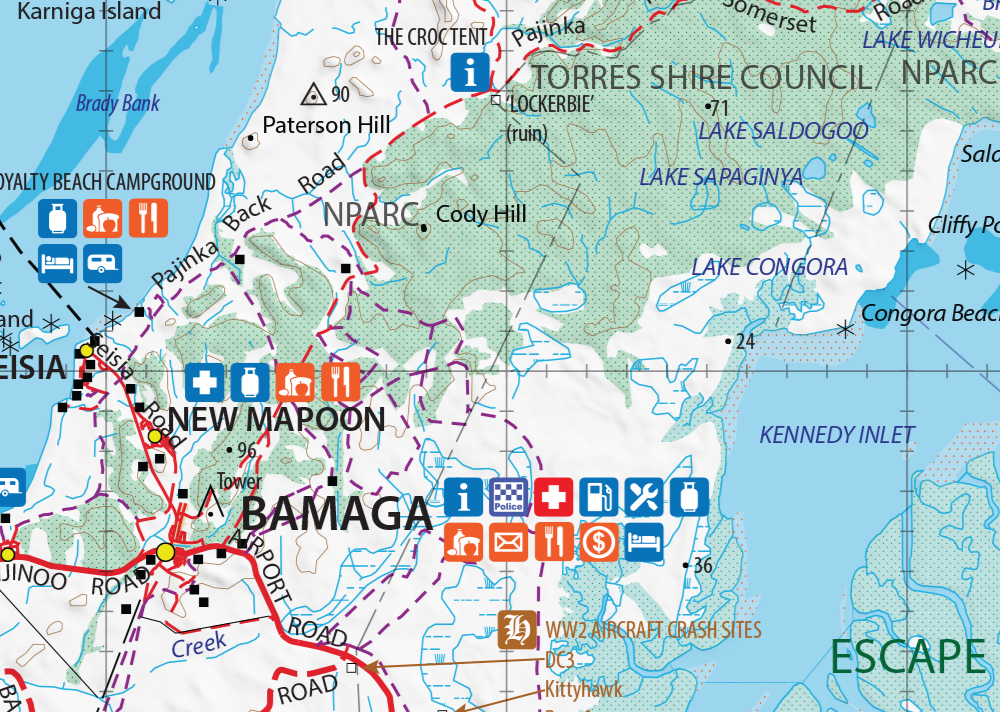 Click the map to preview the entire map. This is the actual map image of the region around Bamaga.