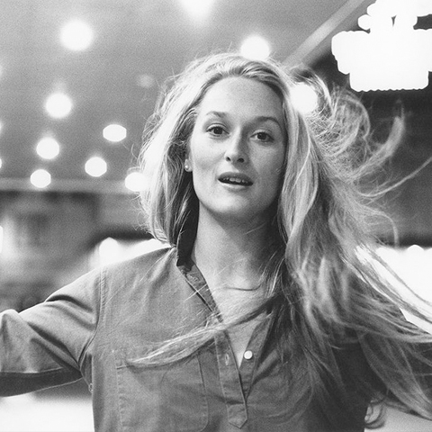 Meryl Streep, 1975. Gelatin silver print with hand applied text.