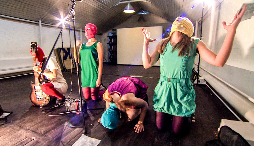 In the film Pussy Riot rehearse their fifth and ill-fated performance ready for their ambush at the Church of Christ the Savior