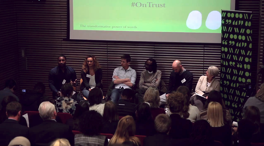 From left to right: chair Dekan Apajee, panellists Ruby Mae Moore (editor of Amor magazine), Adam Sich (Senior Producer for Truthloader, ITN's YouTube news channel), Derren Lawford, Piers Bradford and Angela Phillips