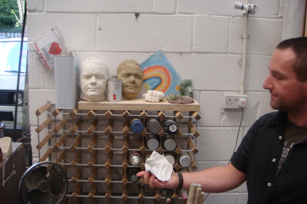 Sculptor Jason deCaires Taylor gives me a tour of his Wood Green studio in 2008 (c) Amar Patel