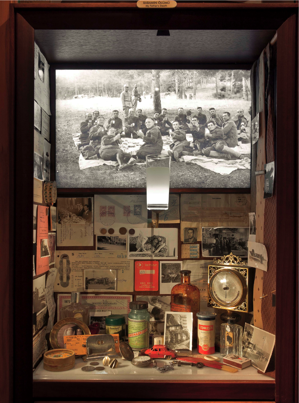 My Father's Death, an example of a vitrine in the Museums of Innocence exhibition at Somerset House