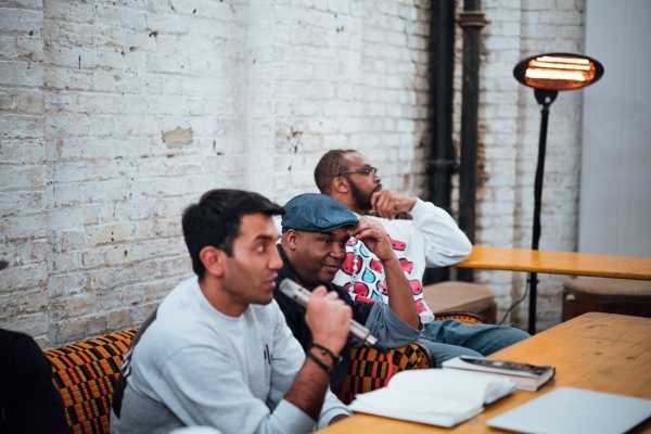 Chairing a panel about the Wu-Tang Clan and their influence on hip-hop culture during photographer Eddie Otchere's exhibition. To my right are producer Dobie and musician Ty  (c)  Tatenda Nyati