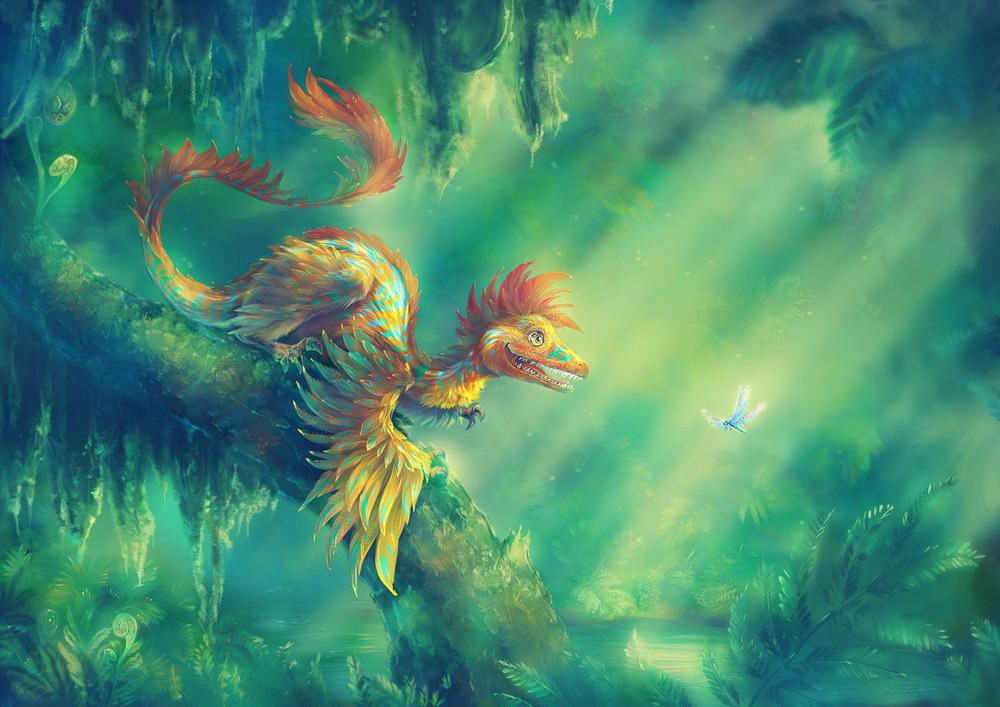 Microraptor. Opeřený dinosaurus z čínské provincie Liaoning. Měl pera nejen na předních končetinách, ale i na zadních. Podařilo se sice nalézt jeho kostry a otisky per, o způsobu života nebo zbarvení dosud ale nic bližšího nevíme. Zatím si můžeme jen představovat, jak asi čínští čtyřkřídlí draci z Liaoningu vypadali. Cílem této popularizační ilustrace je ukázat divákovi, jak fascinující mohl pravěk svět být. Orig. I. Vyhnánková