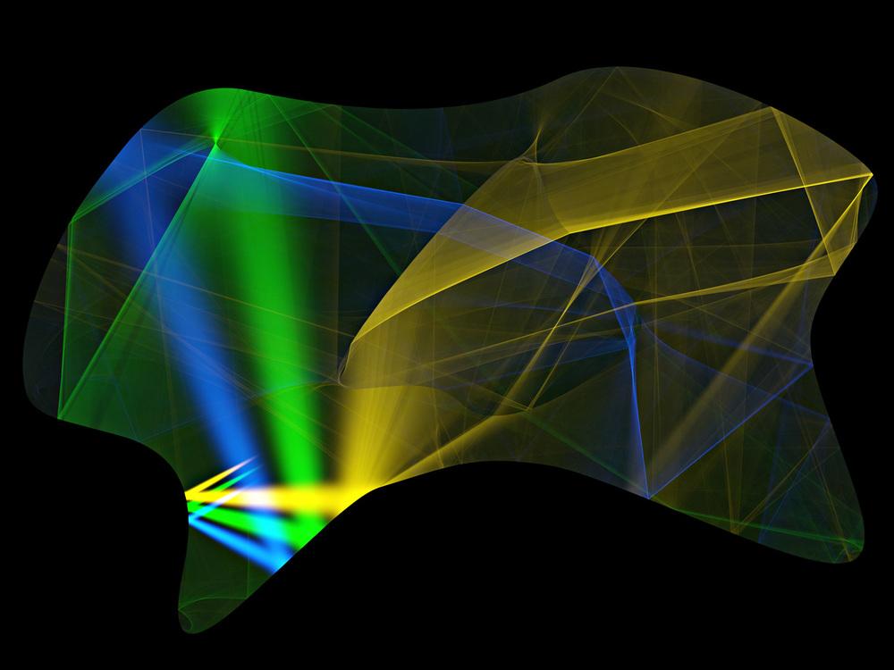 """Kaustiky v zrcadlovém sále. Simulace kaustik """"- vzorů vzniklých odrazem světla v zrcadle - ze tří barevných světel ve virtuální scéně. Obrázek byl vytvořen jako zátěžový test pro speciální algoritmus. Světlo ve scéně se odráží od zrcadlových okrajů (stěn), dokud nedopadne na matnou podlahu, kde je připočítáno k výsledku; vícenásobné odrazy od zakřivených stěn při tom vytvářejí zajímavé vzory. Simulace trvala 12 hodin a bylo použito 320 miliard paprsků. Orig. O. Karlík, Matematicko-fyzikální fakulta UK v Praze, 1. místo v kategorii Virtuální příroda"""