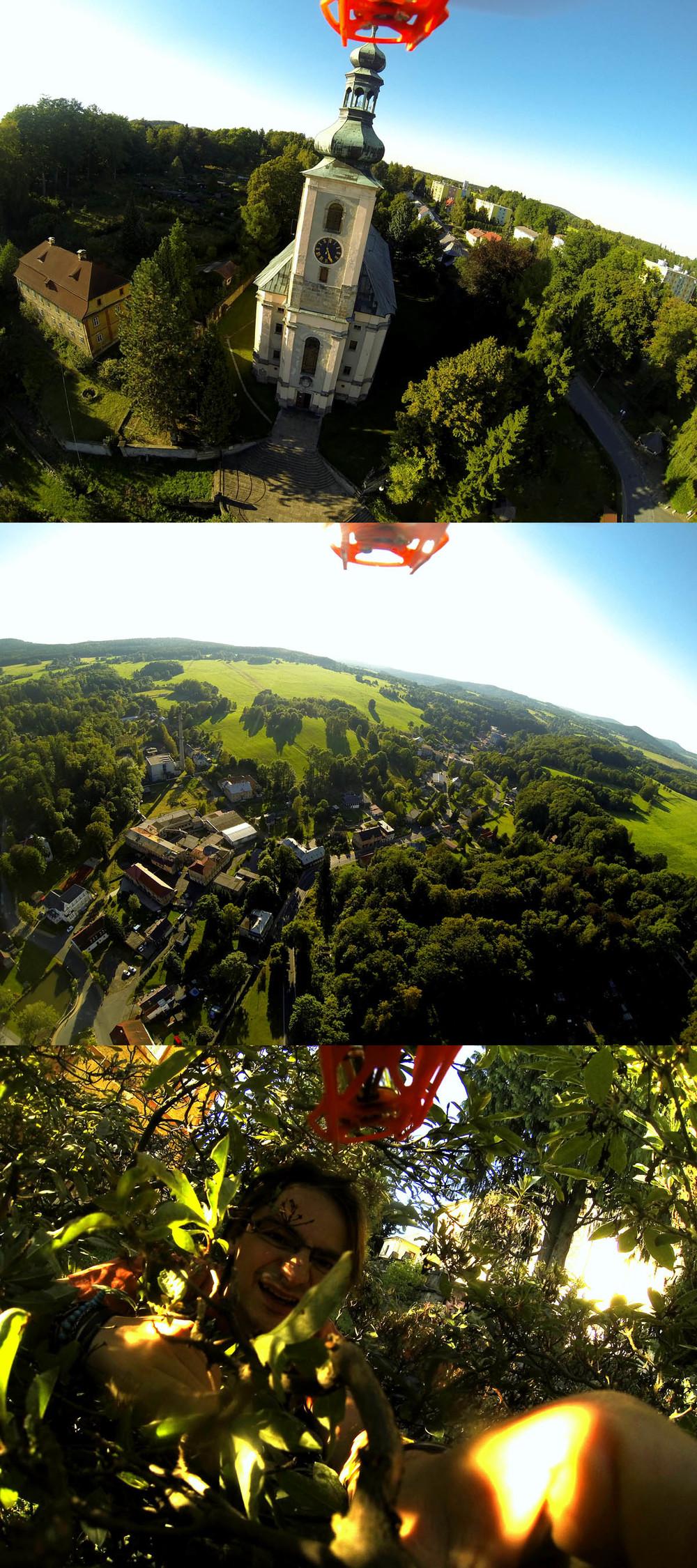 6. září 2013 To co vidíte na snímku možná vypadá jako takový ty normální záběry z vrtulníku, kterejma už Vás obtěžuju poměrně dlouho. Chyba lávky. Ano, začalo to jako normální let vrtulníku, po 15ti sekundách jsem nabral výšku kostelní věže a byl jsem spokojený. Jenže. Za dalších 37 sekund jsem nabral výšku kolem 120ti metrů. Toho jsem se trochu lekl a začal raději pomalu klesat. Něco se stalo. Nevím přesně co, ale vypnul se jeden motor. A co to znamená? Vrtulník, rok práce a spousta peněz se začal poroučet k zemi volným pádem. 90 metrů!!! Spadl přesně mezi kostel a faru. V tom kostele běžela zrovna bohoslužba. A co to znamená? Soustředěná modlitba věřících, církevní půda... Prdulník spadl do jedinýho, fakt jedinýho křoví mezi náhrobkama, který tam bylo. A co to znamená? Lítám dál... Kdybych neveřil, uvěřím... Mám plný náměstí svědků, kdyby někdo neveřil.