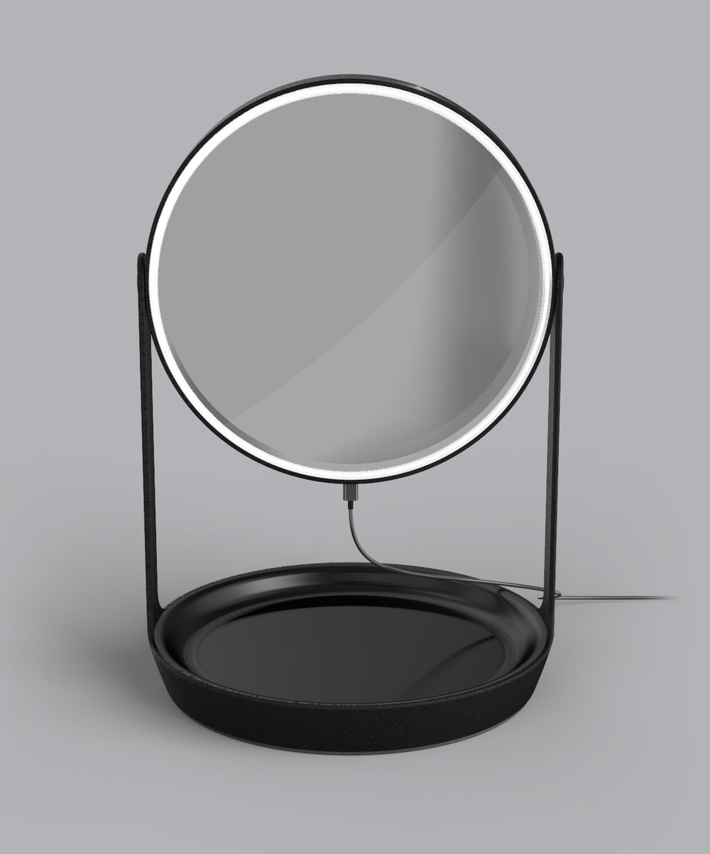 Vanity – magnifying mirror with swivel base tray and light ring