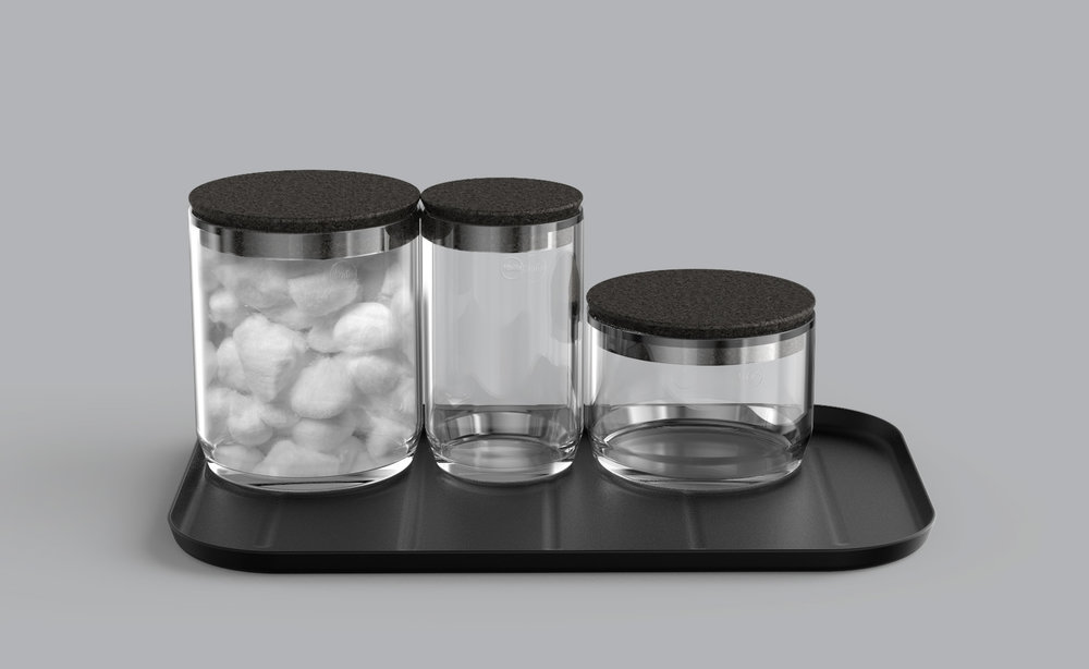 Jars and tray – three sizes with cork lids and stamped metal tray