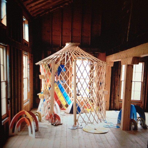 The BOWER yurt by Kelley Sullivan. Image via @sarahsandman on Instagram