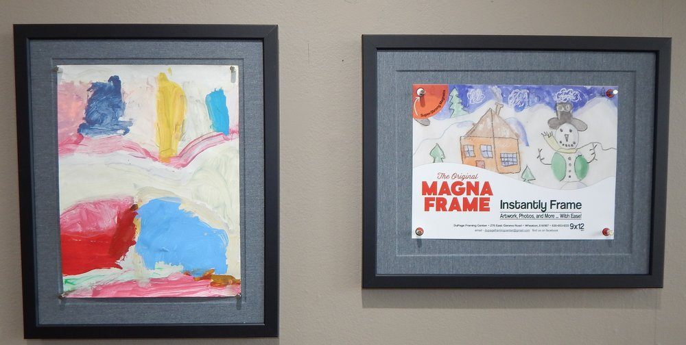 The Original MagnaFrame is handmade right here in our shop. Perfect for kids artwork and MORE!  Call or email to order yours today. Custom ones made upon request with colored fabric or frames.