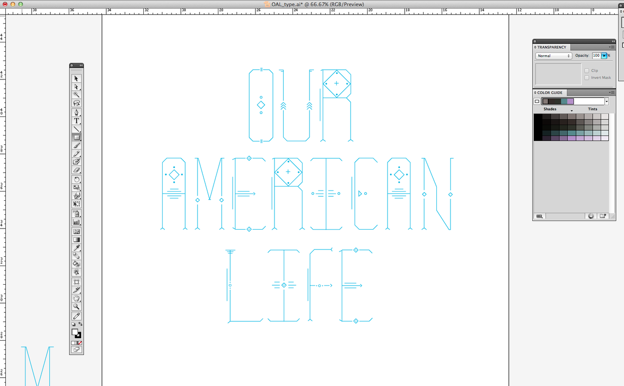 Working on a new display font: 'Our American Life'