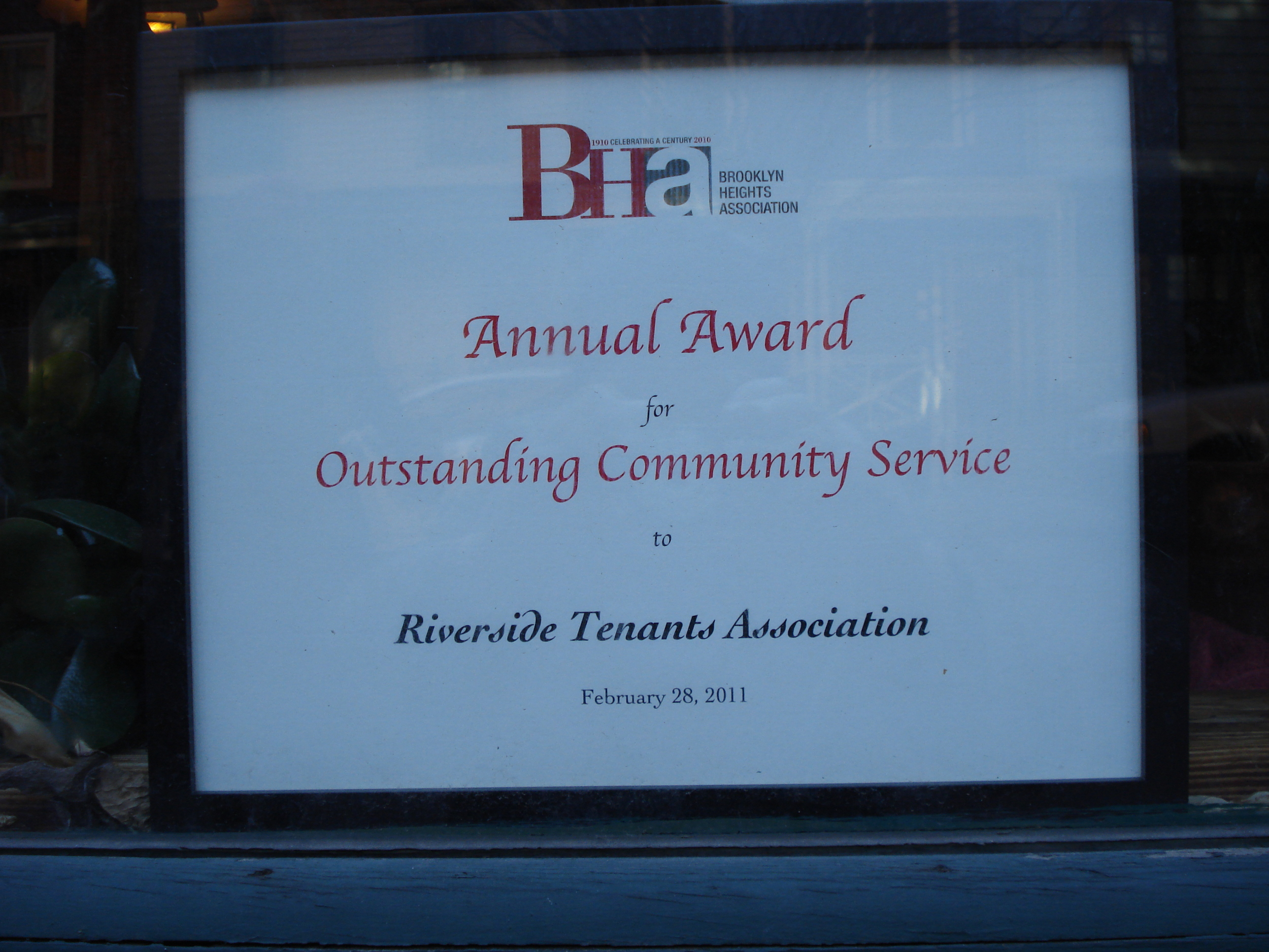 Brooklyn Heights Association Associate Award