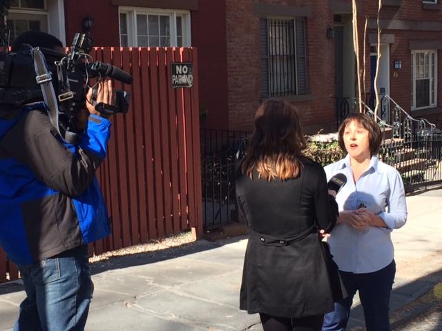 Linda Derosa being interviewed April 17, 2014 on Joralamon Street