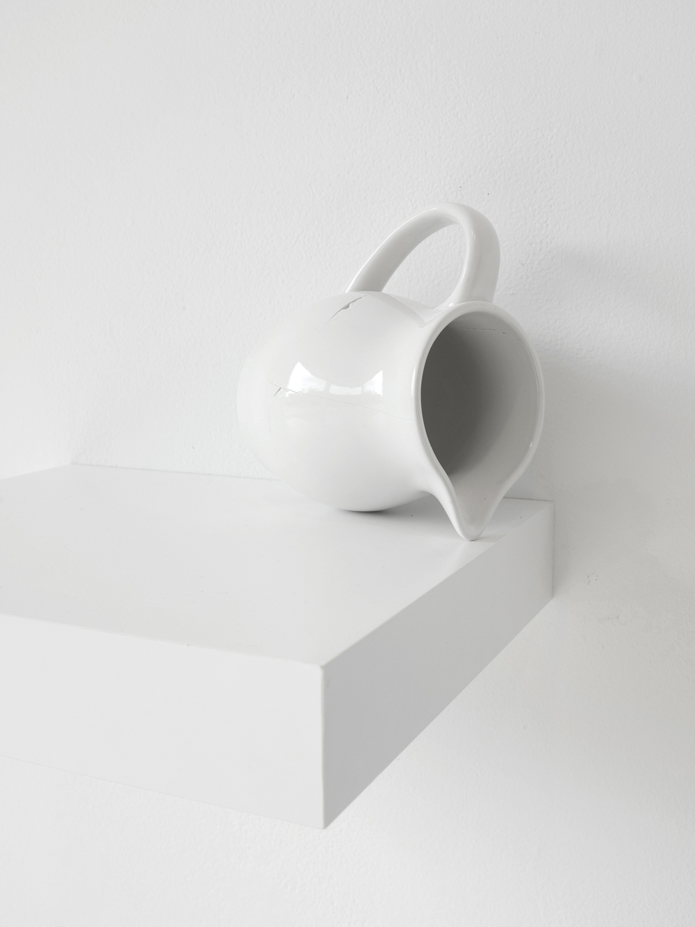 "Installation of milk pitcher (found), broken and fixed, 5""x4"", 2015 (detail)"