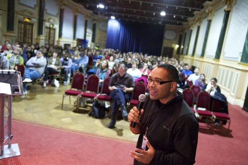 Krish Kandiah speaking at a youth work conference...