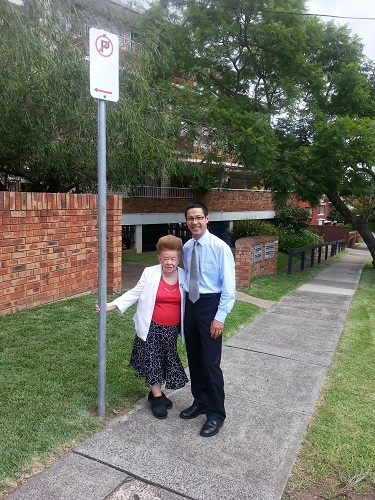 """Craig with West Ryde Resident Gloria Martin celebrating her new """"No Parking"""" sign"""