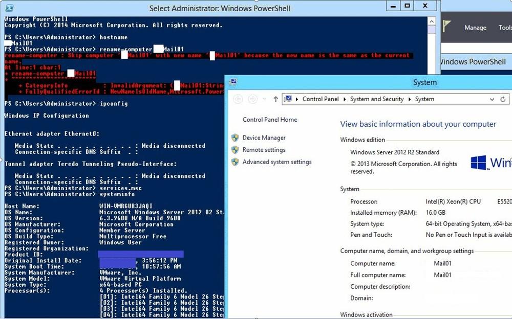 Windows server displaying 2 different server names.