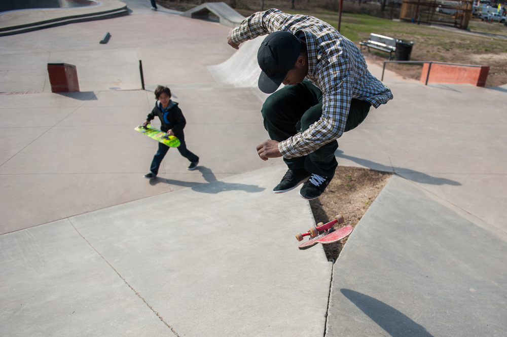 Don Henson tries to land a trick in Durham Central Park's Skatepark on Saturday Jan. 27, 2013.