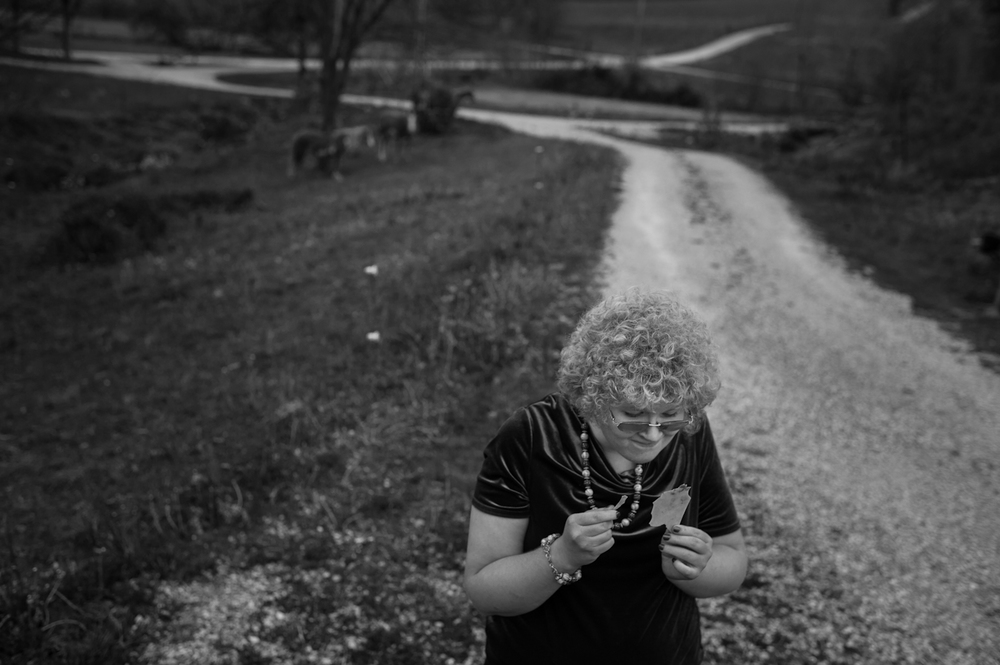 People with autism often have habits that help release their feelings of being overwhelmed or frustrated. For Casey that habit is shredding. Casey shredded a piece of plastic while walking along her family's driveway in Birdseye on April 27.