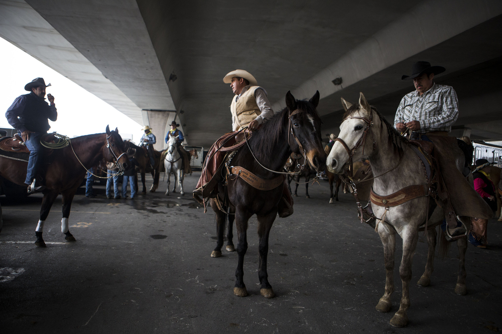 Riders who were contracted to help steer the herd of Longhorns down Houston St. prepare to begin the San Antonio Stock Show's annual Western Heritage Parade in downtown San Antonio, TX on Saturday, February 7, 2015.