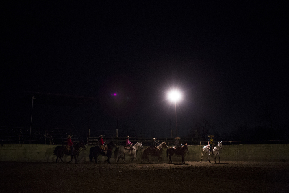 The Escaramuza Las Potrancas team practices at Herradura in San Antonio, Texas on February 20, 2015.