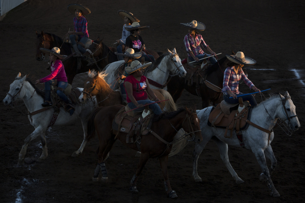 Escaramuza Las Potrancas practices their routine for the pre-state competition at El Rancho Unico in Atascosa, Texas on March 26, 2015.  The team ended up third in the pre-state competition.