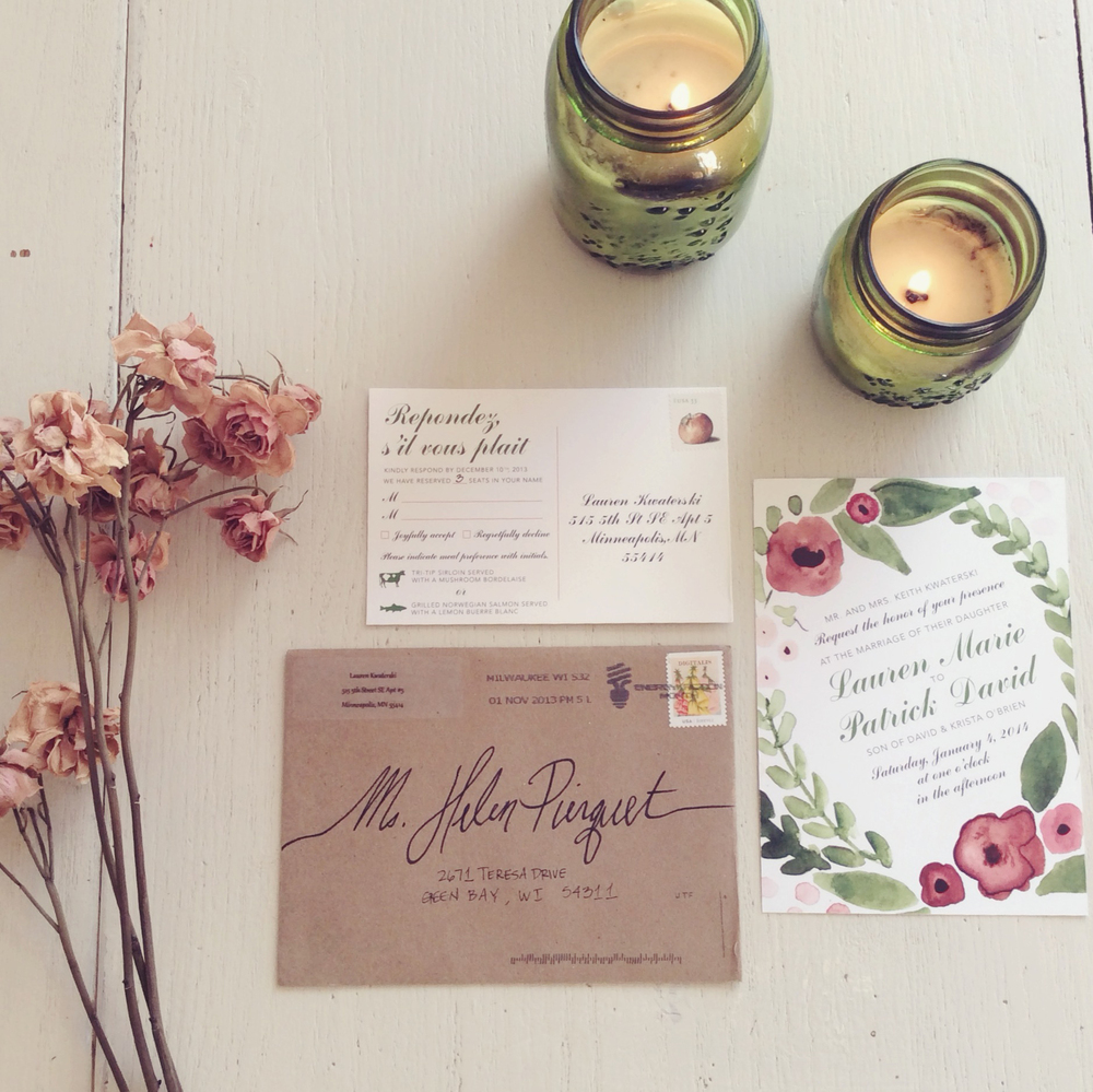 Watercolor Wedding Invites : Dusty Rose + Olive Green — Plaid Poppy ...