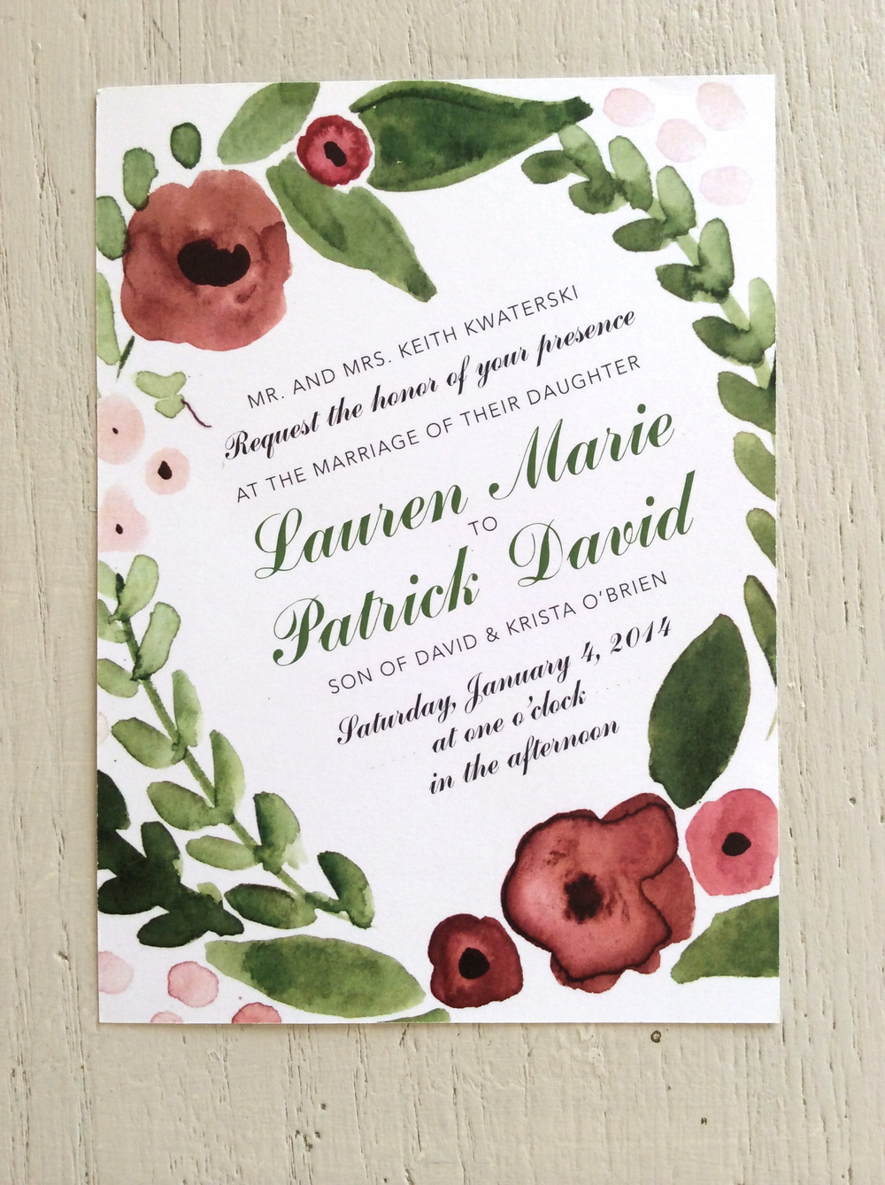 Charming Watercolor Wedding Invites : Dusty Rose + Olive Green