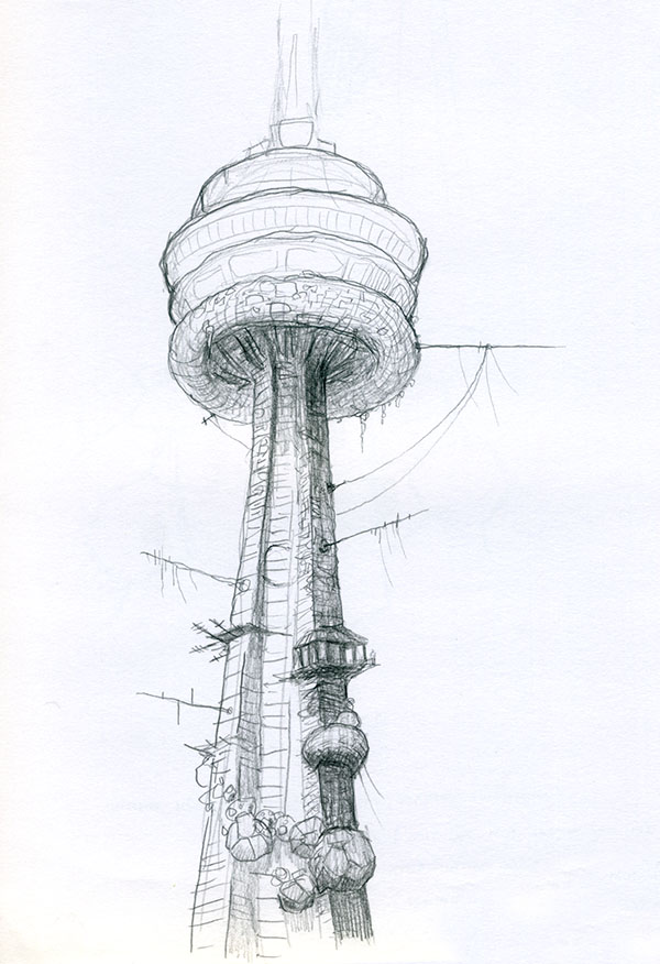 how to draw the cn tower