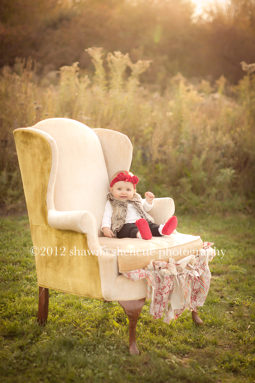 MA Baby Photographer, Worcester Outdoor Child Photographer Baby on Old Chair