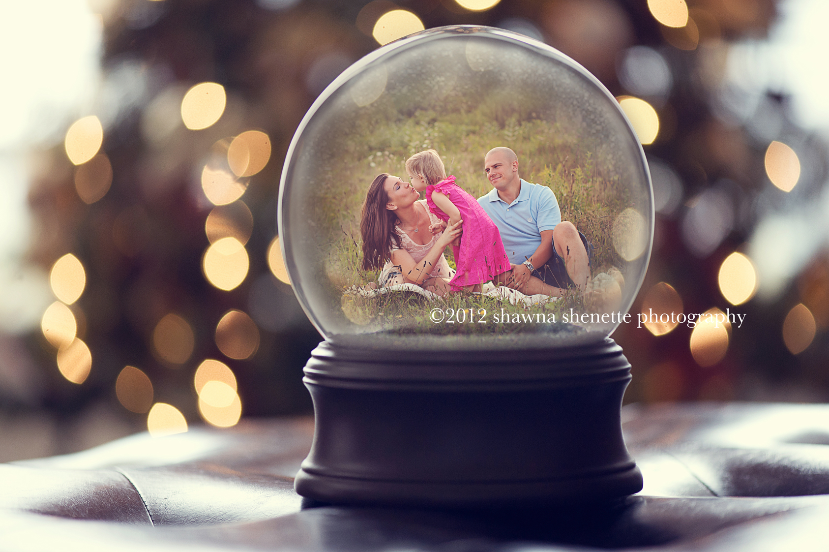Massachusetts Family Photographer Outdoor Holiday Photo Cards Snow Globe Child Mother Father Field