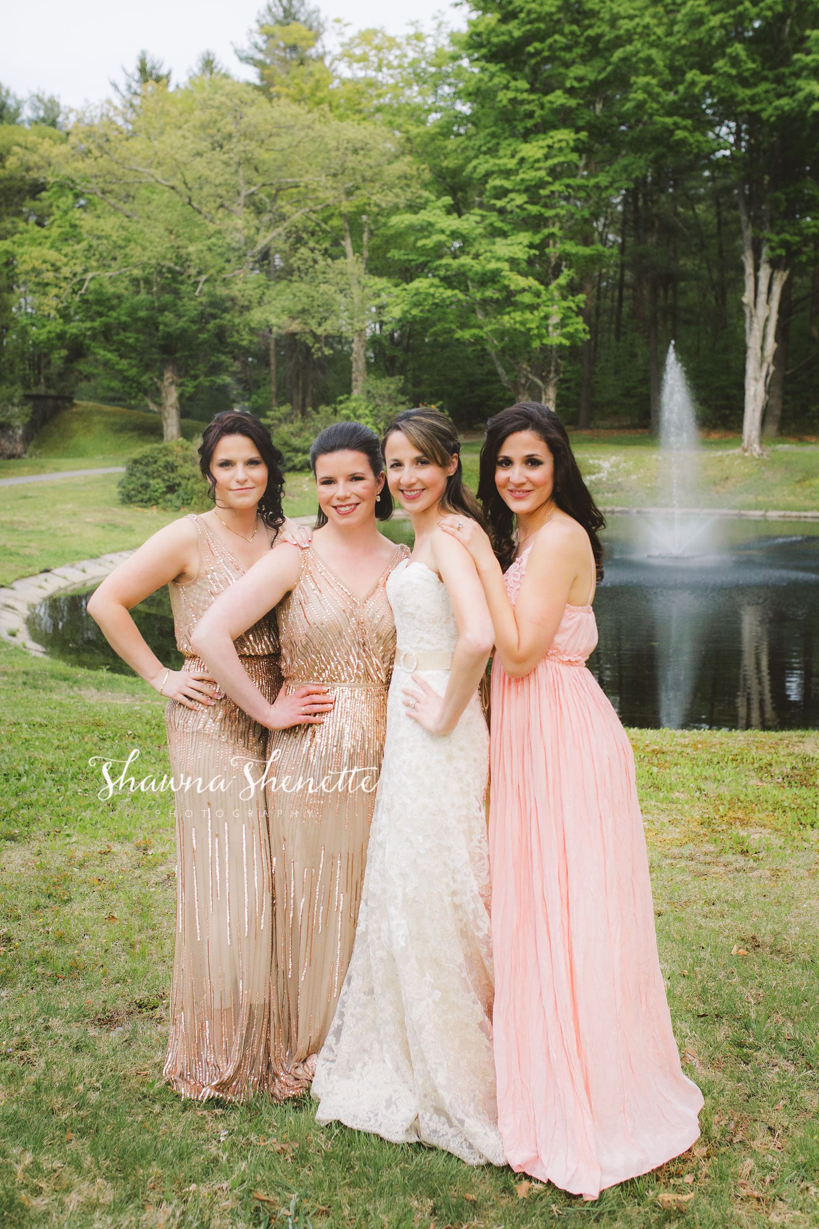 Boston Wedding Photographer Massachusetts Bridesmaids Photos Massachusetts Worcester AndoverPink Gold Champagne