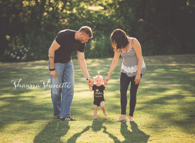 Worcester Family Photos Baby Girl walking with Parents