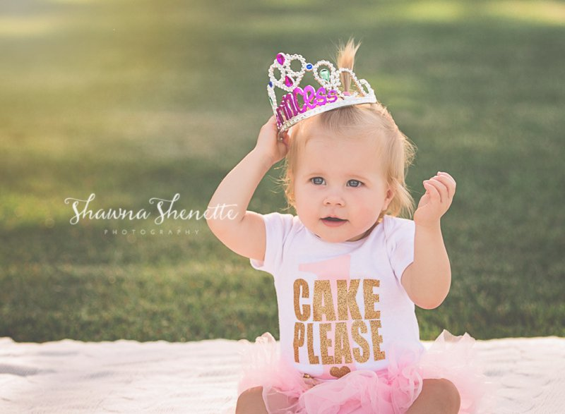One year old Baby Girl Outdoor Cake Smash
