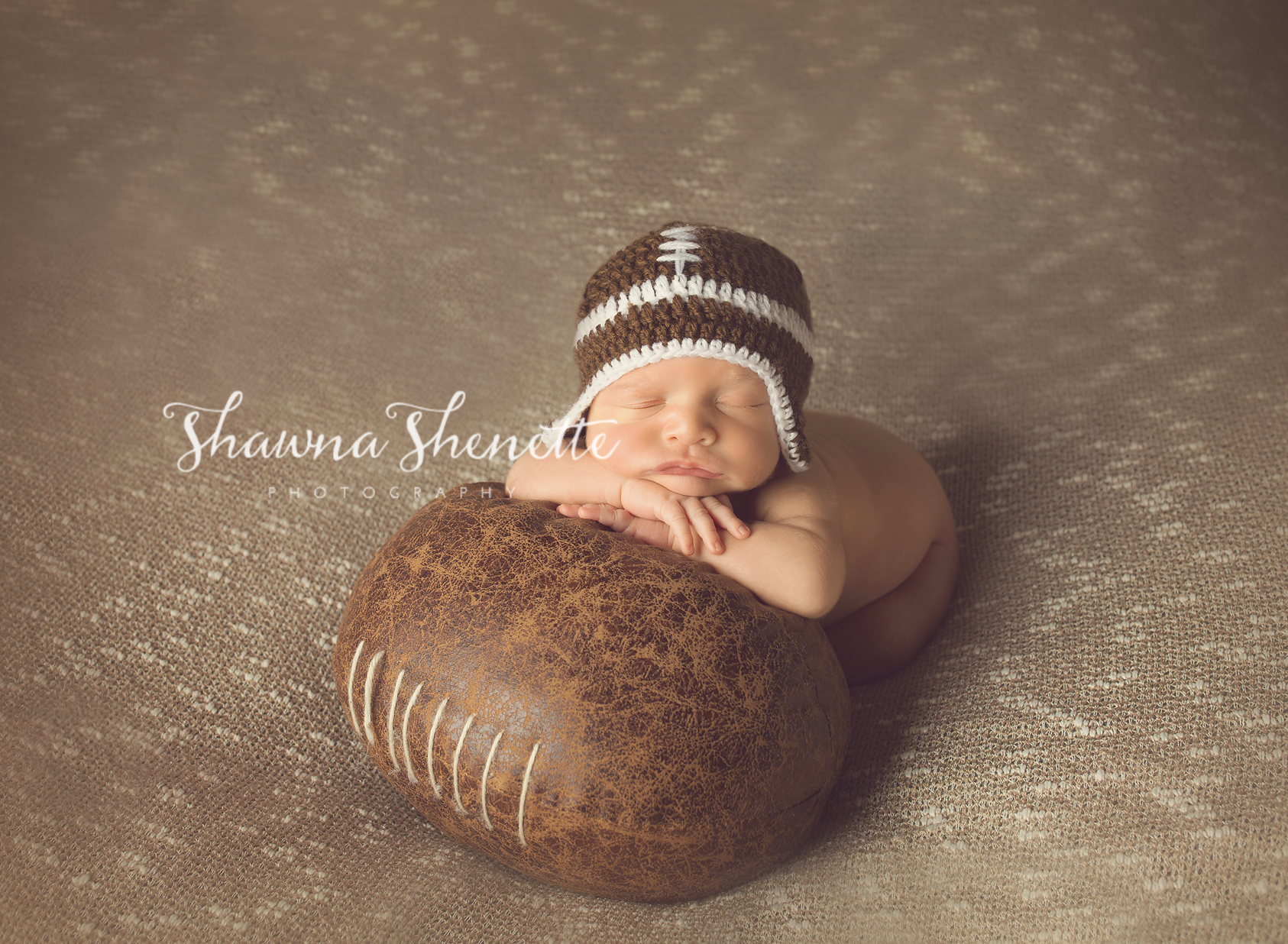Worcester MA Newborn Baby Boy Photographer Football Baby Photo Session Millbury