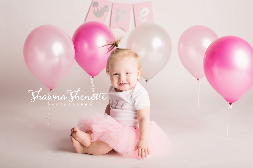9K8A9006-Edit_Millbury MA Photographer Massachusetts One Year Old Baby Girl Cake Smash Worcester Pink Balloons Pink Boston Metrowest Baby Photos