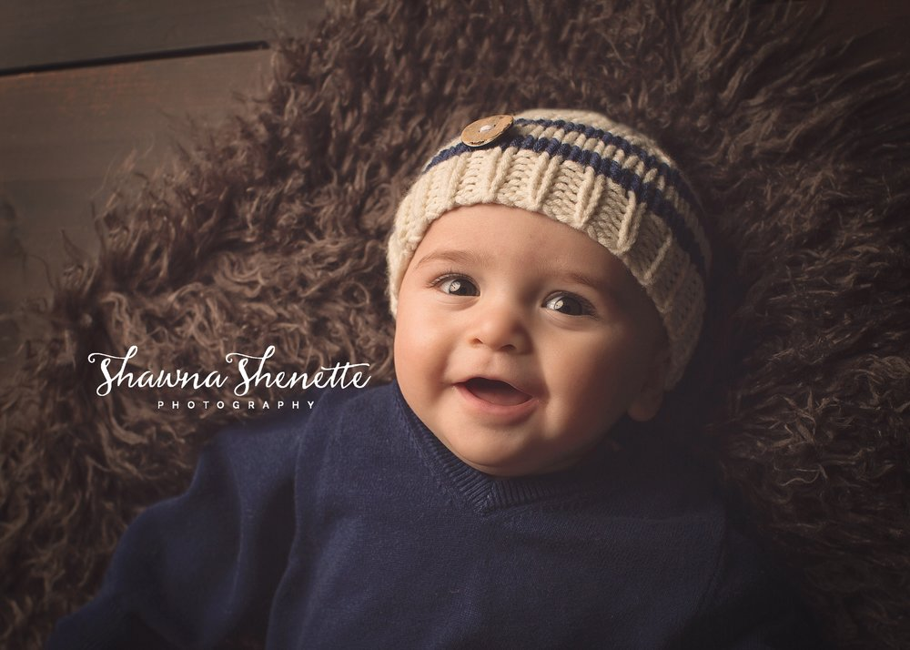 Worcester MA Baby Photographer Sitting 6 Month Old Cute Baby Boy Patriots Football Fan