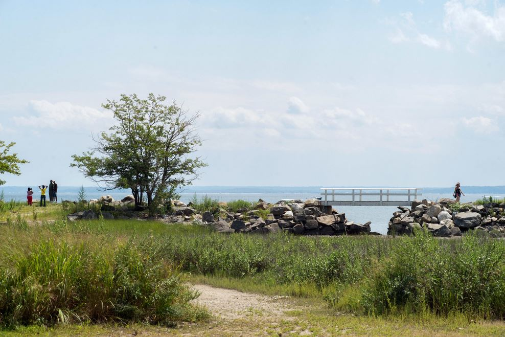 Looking across Long Island Sound from Greenwich Point Park in Old Greenwich.