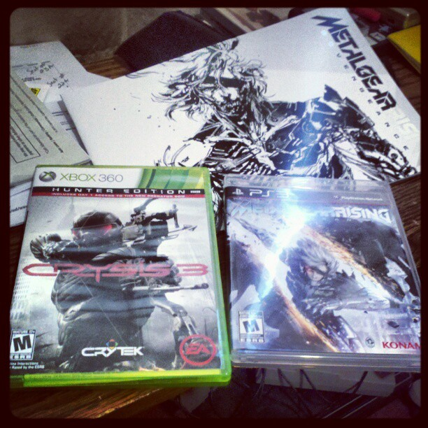 infinitestrike: Now that I can publicly announce it… I'll be busy for awhile. #Crysis3 #MetalGearRisingRevengeance And you'll be able to find the GGN Crysis 3 and Metal Gear Rising reviews here!