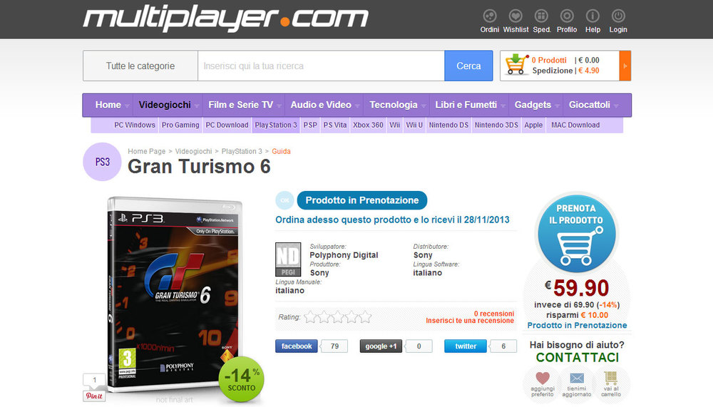 Italian site Multiplayer.com displaying GT6 along with pre-order