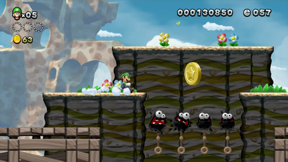 How do you get that Star Coin? A crazy jump made possible by Luigi's crazy idea of physics.