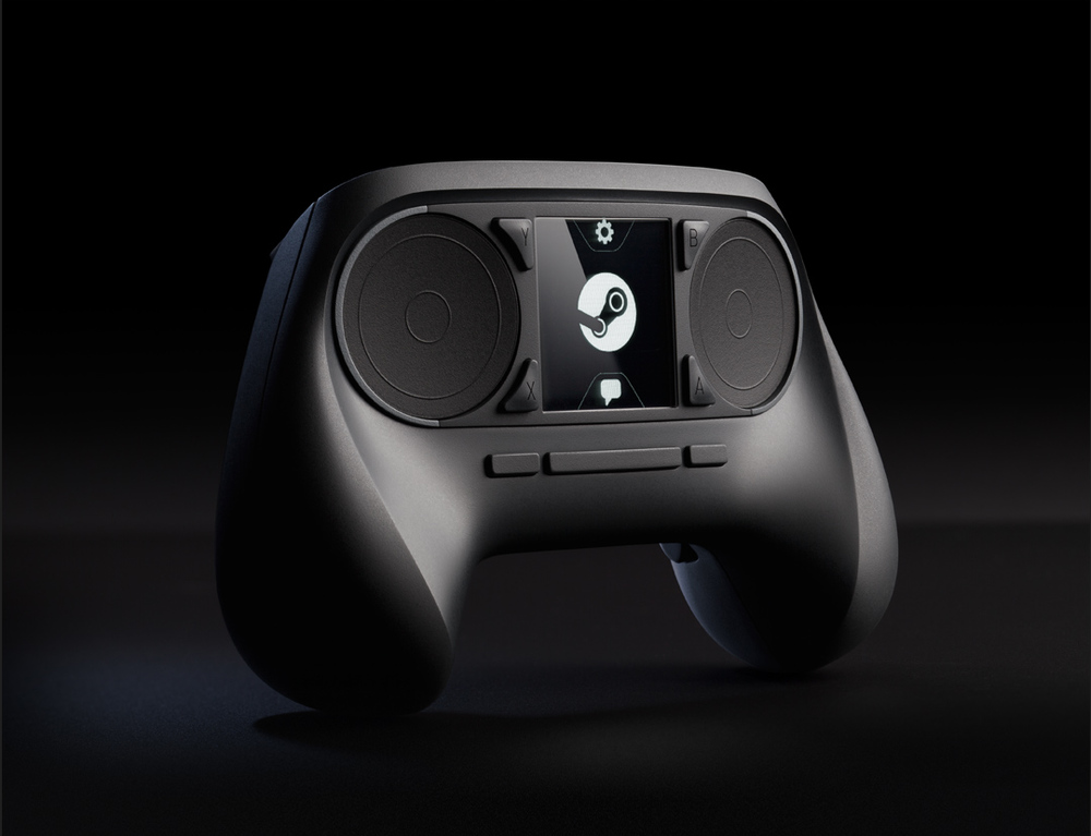 Left: the original mockup of the Steam Controller.