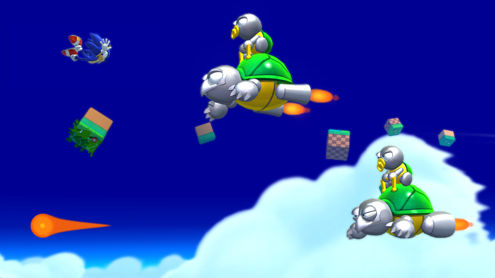 In one gimmick stage, Sonic flies, and you curl up to adjust altitude as well as damage enemies. This screenshot also shows off the cutesy-lookin' badniks you'll face in  Lost World .