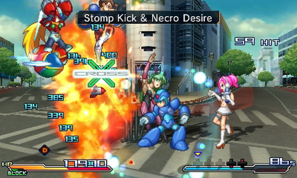 Megaman X, Zero, Ulala, Chun-Li and Morrigan putting the hurt on some poor foe.