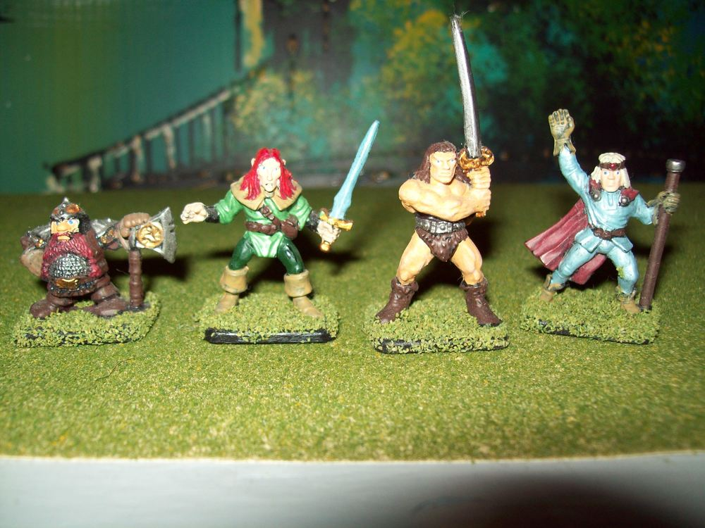 My painted figures - dwarf, elf, barbarian and wizard