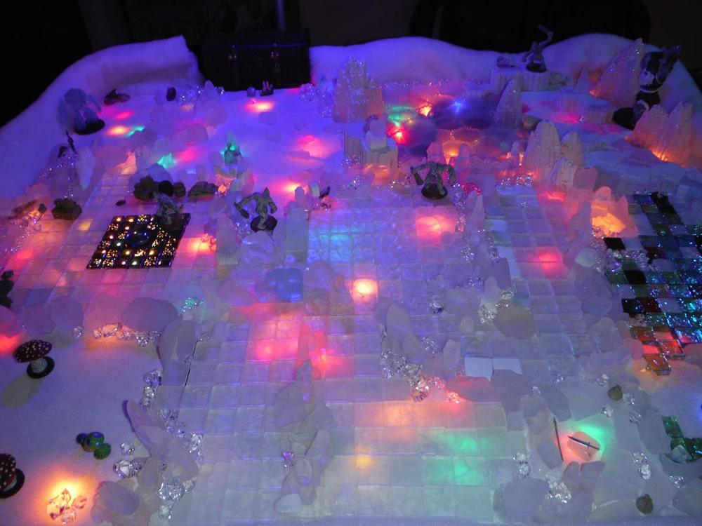 Custom Ice dungeon with LED's  http://yeoldeinn-heroquest.blogspot.com/2014/12/its-christmas-time.html